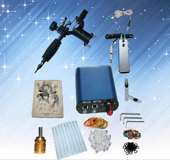 Complete Tattoo kits 1 rotary tattoo machine sets power supply disposable needle free shipping(China (Mainland))