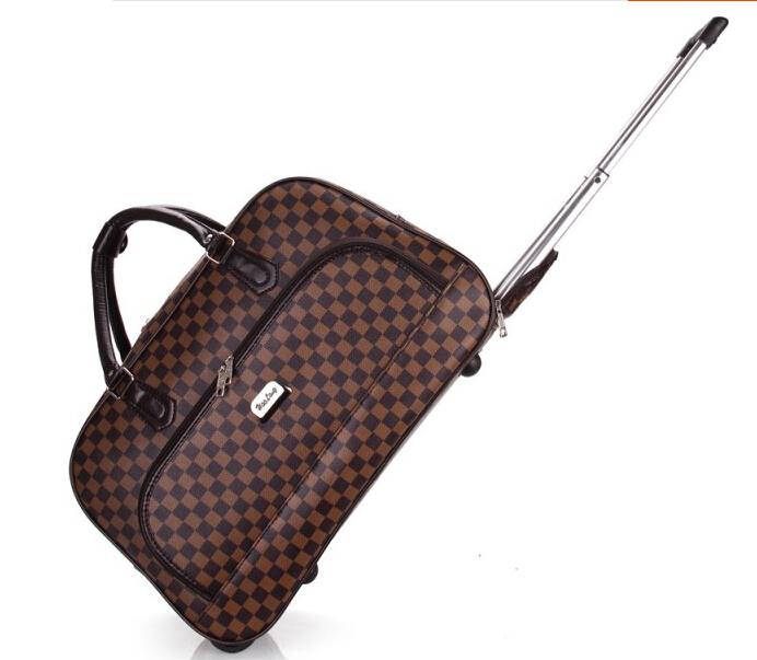 free shipping,2015 hot sale PU bag plaid high quality waterproof travel bag rolling trolley luggage PU bag(China (Mainland))