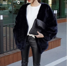2016 Spring  Winter Streetwear Women Vintage Casual Loose Long Mink Overcoat Batwing Sleeve Formal Cardigan Thick Fur Coat V635(China (Mainland))