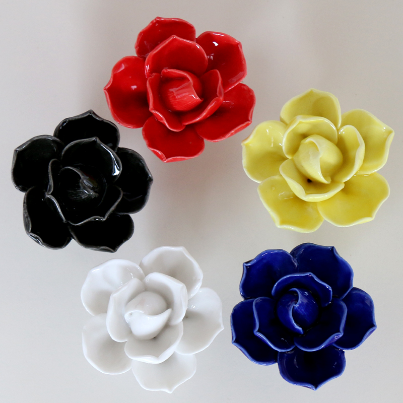 Door Handle Home Accessories Drawer Knobs Unique Lotus Flower Shape Ceramic Handle Cabinet Furniture Door Pull(China (Mainland))
