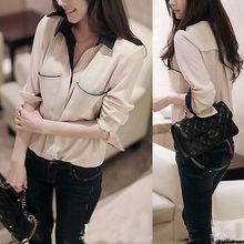Women Chiffon Long Sleeve Shirt Casual Lapel Summer Tops Blouse 8 10 12 14 16 18(China (Mainland))