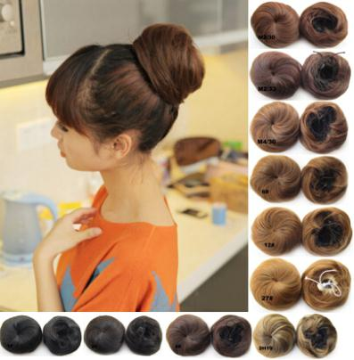 2015 Hair Buns Wig New Chignon 80g Hair Pieces Women's Bun Synthetic Scrunchie Donuts Pad Cover #14/613 Medium Blonde/lightest(China (Mainland))