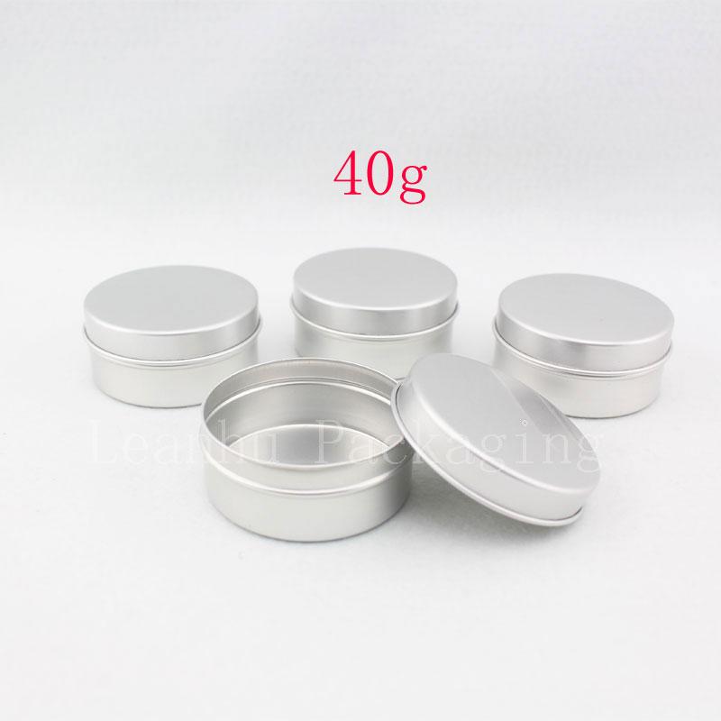 40g X 100 empty round lip balm aluminum containers ,40ml salve tin ,cream bottles , lip gloss tank caning metal pot jar tin(China (Mainland))