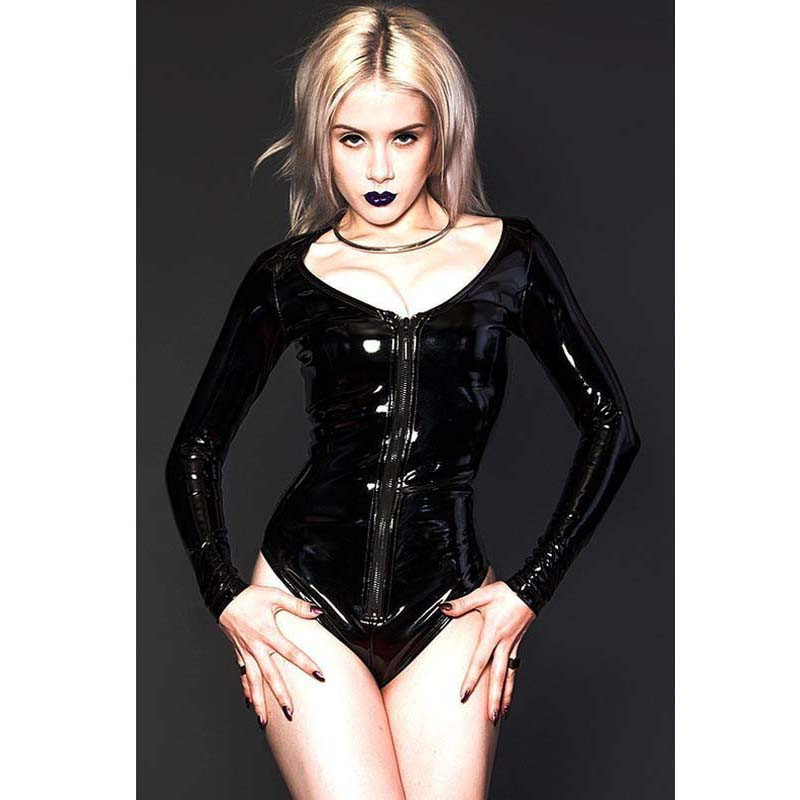 Black as night PVC one piece scoop neck bodysuit long sleeve front zipper PVC lingerie sexy leather steampunk lingerie for women(China (Mainland))