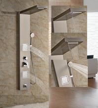 Luxe mur monté robinet de douche salle de bains brossé Nickle panneau de douche avec douche à main(China (Mainland))