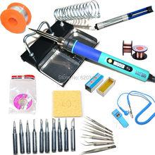 EU Digital LCD Adjustable Electric soldering iron or 936 Soldering station kit set Welding repair kit SET Tweezers/Solder tip(China (Mainland))