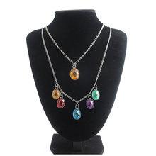 RJ mode Avengers Endgame docteur étrange collier or oeil d'agamotto vert cristal hommes dame colliers bijoux cadeau(China)