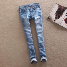 New Arrival 2014 Spring low waist Women Straight Jeans Slim Pencil Skinny Denim washed jeans Pants long trousers