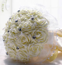 Buy 01 Wedding Flowers Bridal Bouquet PE Rose Artificial Flower Bouquets Wedding Decorative Bridesmaid Flower Bouquet Crystal Pearl for $15.06 in AliExpress store