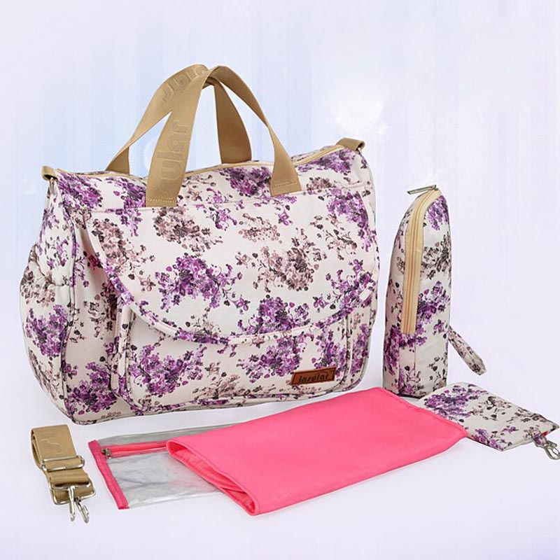 Fashion Floral Print Bolso Maternidad Multifunction Cotton Baby Changing Bag For Mom with Accessories <br><br>Aliexpress