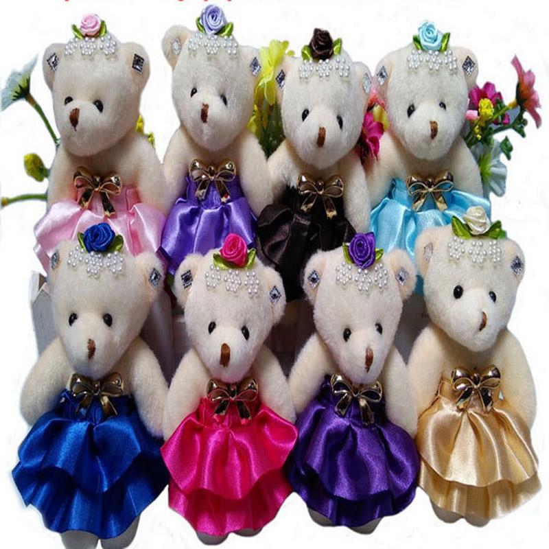 20pcs free shipping Plush Toy Teddy Cartoon Bear Dress Flower Stuffed Animal Wedding Bouquet Flower Wrapping Material wholesale(China (Mainland))