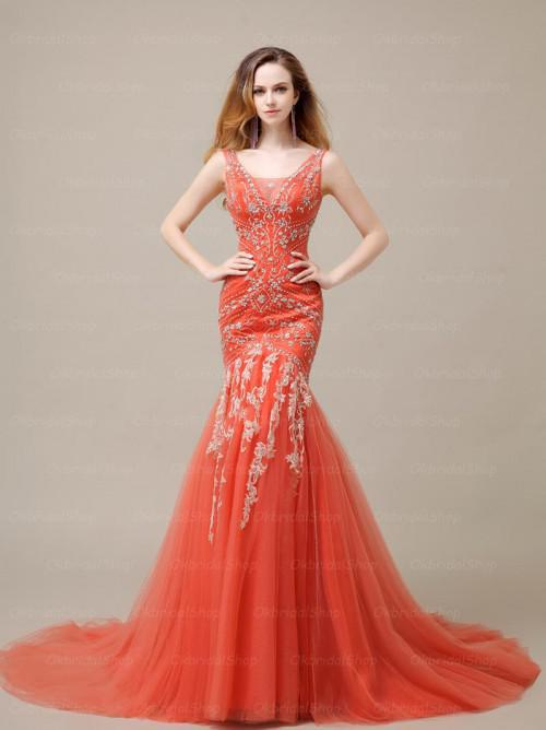 Beaded Embroidery Orange Evening Dress Mermaid Style V-neck Lace-up Corset Long Prom Gown Available Plus Size(China (Mainland))