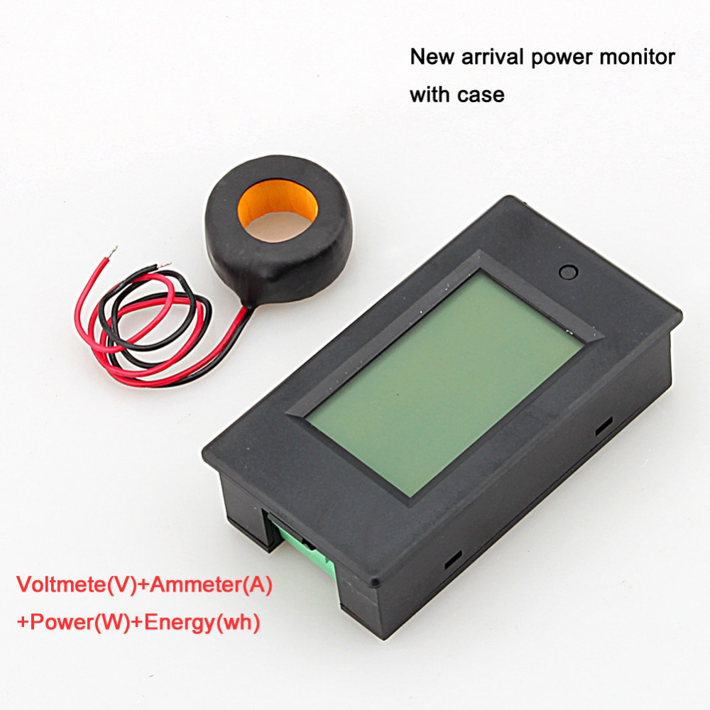 1PC AC 100A Power Meter Monitor Voltage current kWh Watt Digital LED Tester with case + CT(China (Mainland))