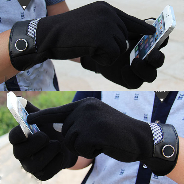 Fashion Men's Touch Screen Gloves Smartphone Tablet Full Finger Winter Glove(China (Mainland))