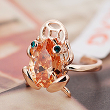 R1450 Green Crystal Champagne Red CZ frog Ring Zinc Alloy 18K Rose Gold platinum Plated With high quality zircon fashion Jewelry(China (Mainland))
