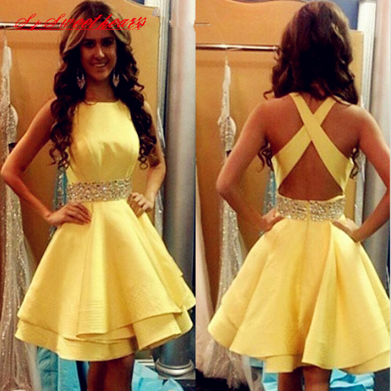 Yellow Homecoming Dresses 2016 74