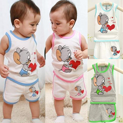 Clothing Set Babys set boys clothes Hot sale new 2014 casual cute Mouse kids clothes sets boy suit set t shirt + pants summer(China (Mainland))