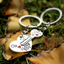 New 1 Pair Couple I LOVE YOU Letter Keychain Heart Key Ring Silver Plated Lovers Love Key Chain Souvenirs Valentine's Day gift(China (Mainland))