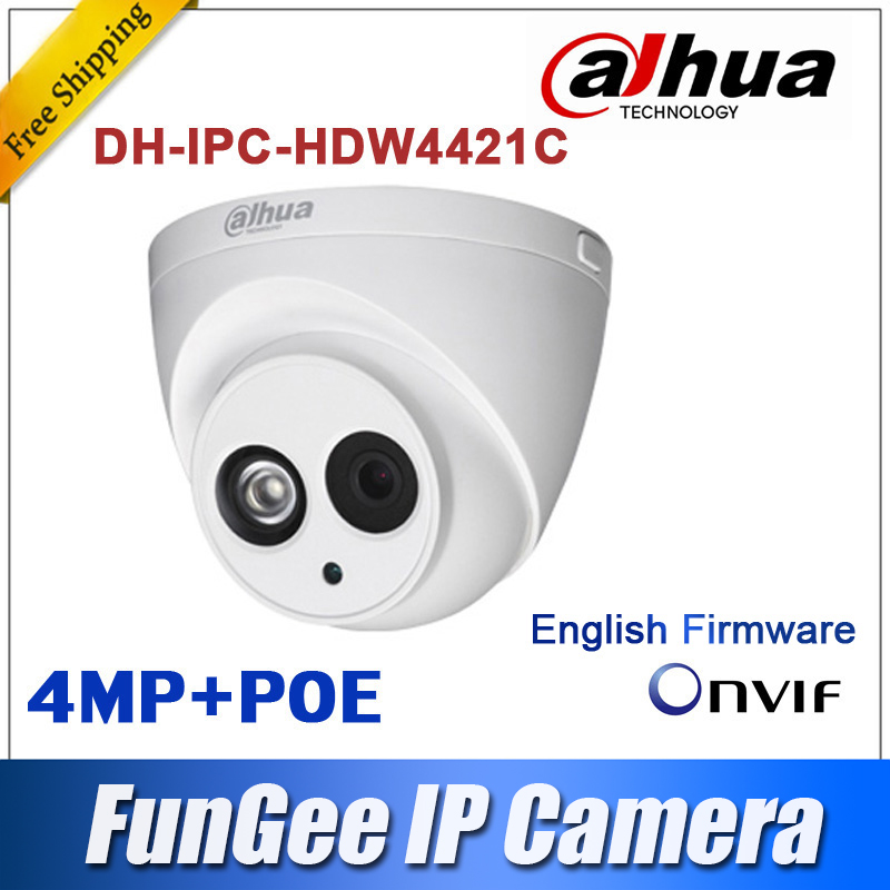 Original Dahua IPC-HDW4421C IR IP Camera 4MP Full HD Network security cctv Dome Camera Support POE DH-IPC-HDW4421C(China (Mainland))