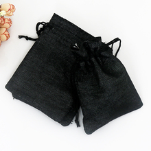 Buy 10pcs/lot 10x14cm Black Jute Bag Christmas New Year Gift Drawstring Bags Drawstring Jute Bags Small Packaging Bags for $4.29 in AliExpress store