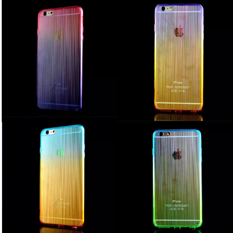 Colorful Gradient TPU Acrylic Wiredrawing Cellphone Cases Shell Cover Transparent Skin Case for Iphone 6 4.7 50pcs/lot Free DHL(China (Mainland))