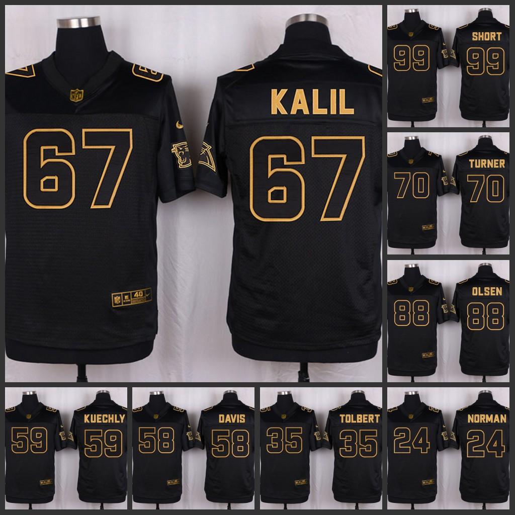 The 50 anniversary black gold men Elite Carolina Panthers 19 Ted Ginn Jr 28 Jonathan Stewart 17 Devin Funchess Kelvin Benjamin(China (Mainland))