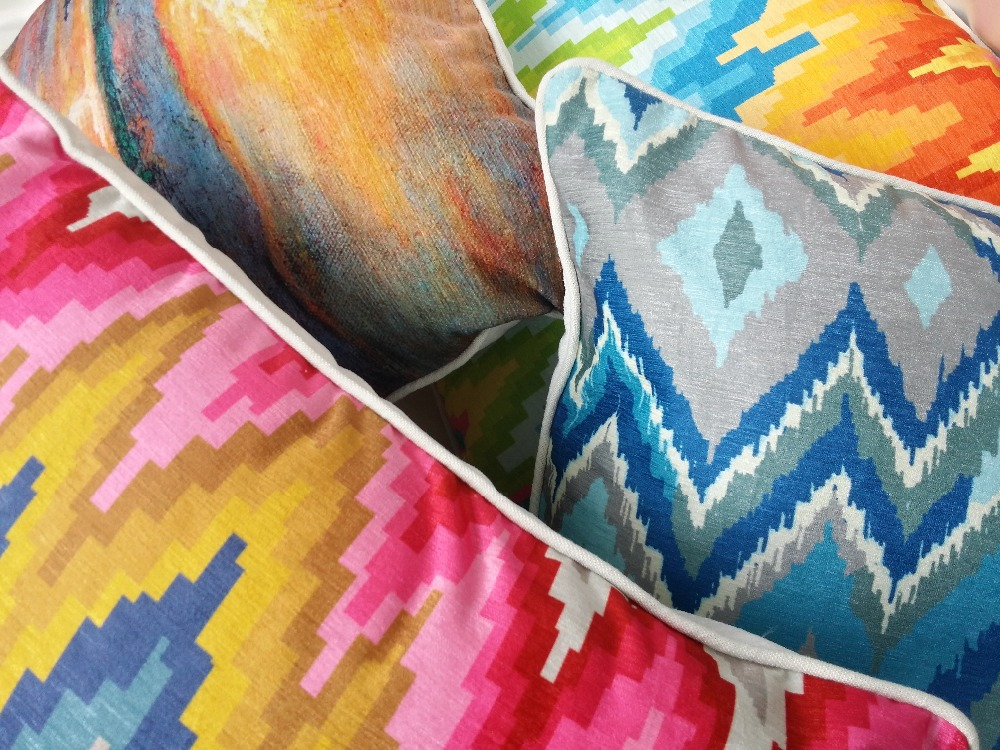 2016 Ikat Style Zigzag Digital Printed Decorative Chenille Pillow Case Square Cushion Cover 45 x 45