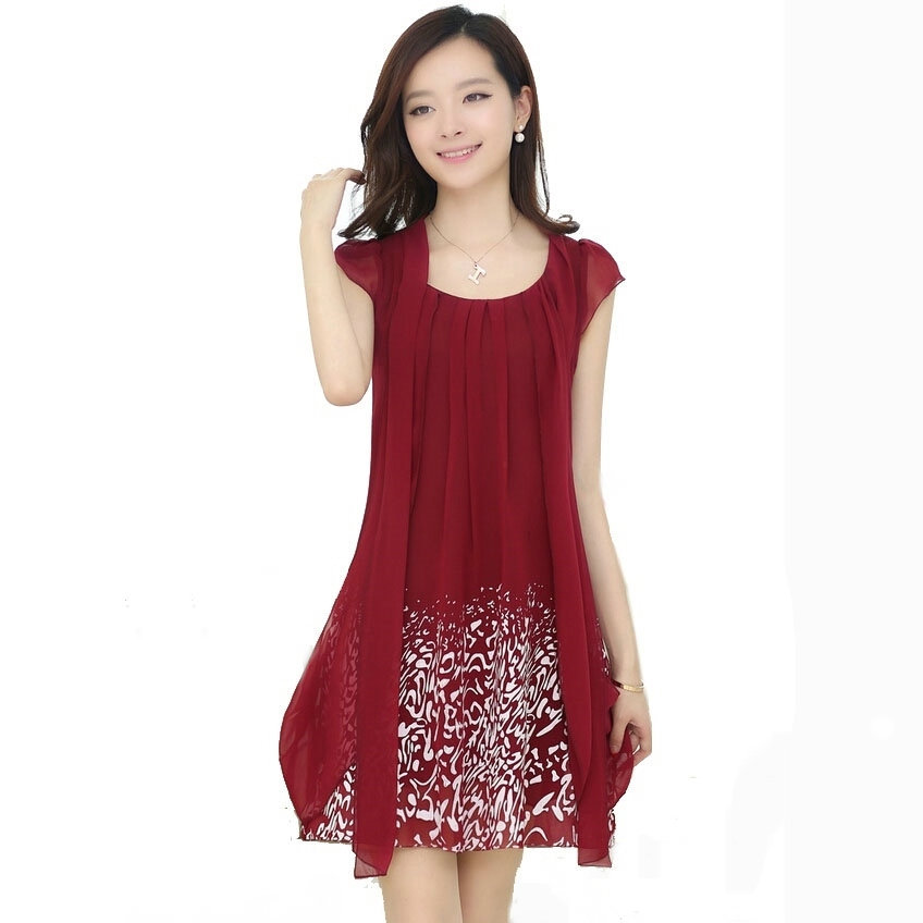 Summer dress 2015 New Women's casual plus size M/L/XL/2XL/3XL/4XL/5XL chiffon dress print dresses work wear clothing C340(China (Mainland))