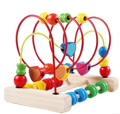 Wood around the bead leuconostoc 10 - 11 baby toy male girls infant 0-1 - 2 - 3 wooden toys(China (Mainland))