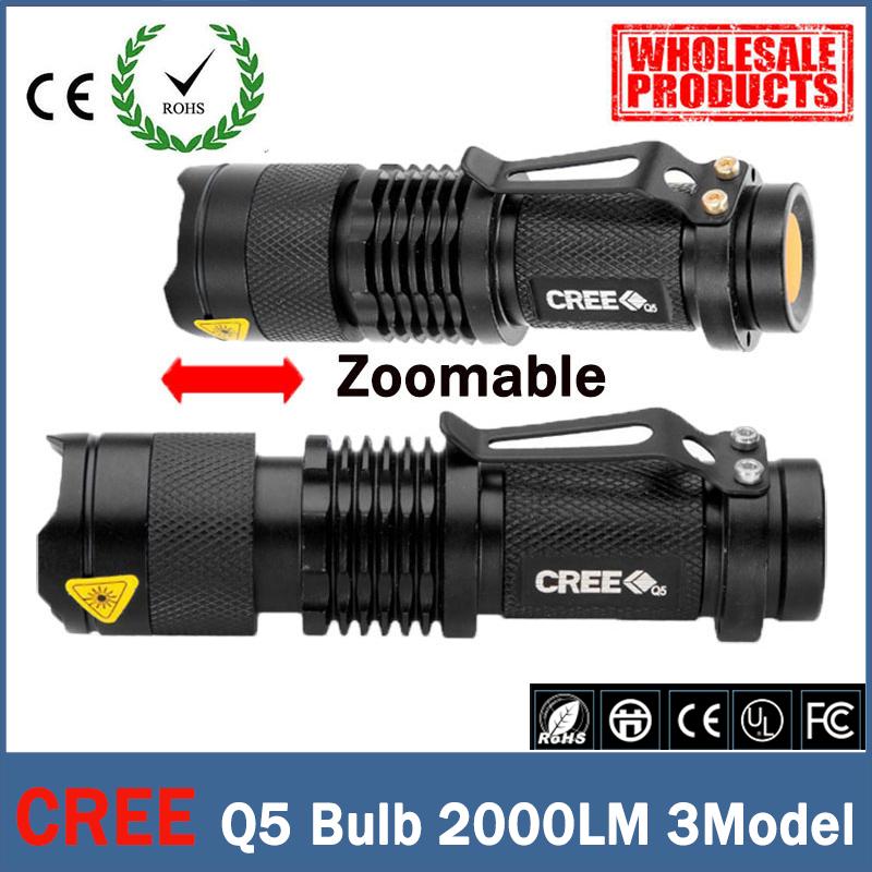 Mini LED Flashlight Waterproof Powerful Tactical Flashlight 2000 Lumens Zoomable CREE 3 Modes LED Torch Linternas zk90(China (Mainland))