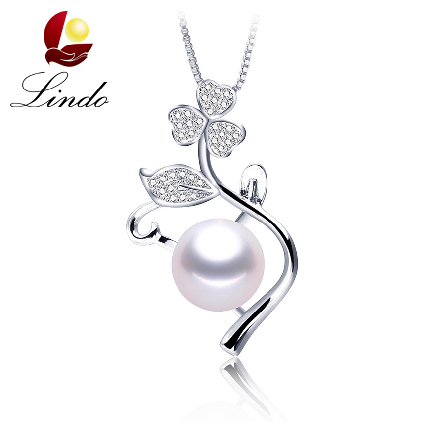 2017 New Arrival Fashion High Quality Freshwater Natural Pearl Jewelry Clover Flower Women Pendant white gold plated Necklace(China (Mainland))