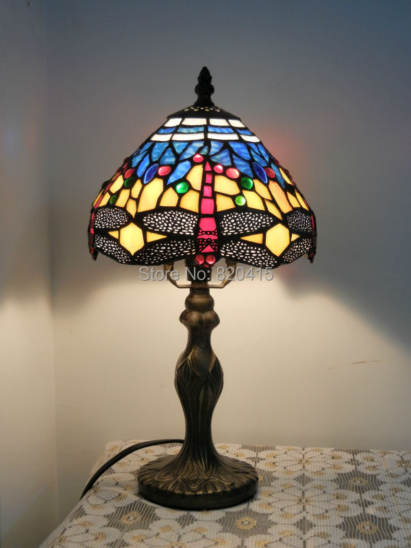 Tiffany Style Stained Glass Beautiful Dragonfly Table Lamp Lustre Lampshade Light Fixtures Christmas Decoration Night Lights - Broadway Lighting store