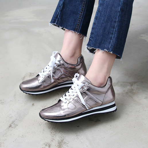Фотография High quality 2016 Women Wedge Sneakers Lace-up Sport Shoes Women Comfortable Running Shoes f-036