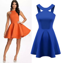 And the wind spring summer new solid space cotton Strapless Halter pompon s Dress D-AN