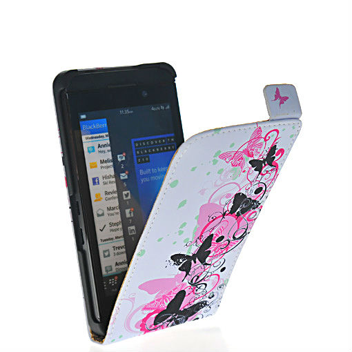 Butterfly shape leather flip pouch case cover FOR Blackberry Z10 London, Surfboard, L-Series, L10 01