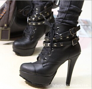 2015 new shoes woman High Heels Lace Up Studs Punk autumn boots Lady Ankle Boots For Women Rivet winter shoes ankle boots(China (Mainland))