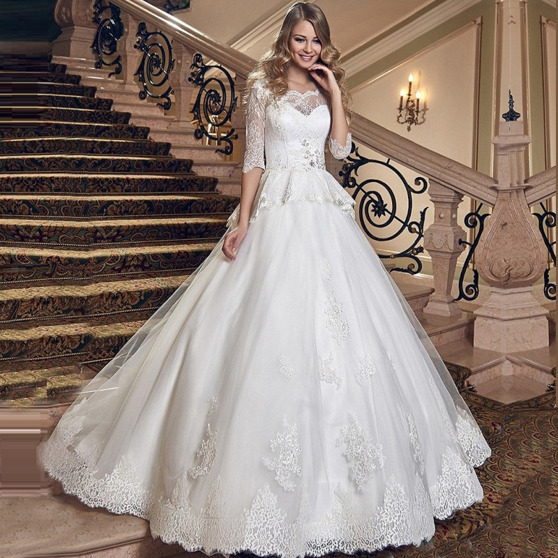 2016 peplum ruched lace princess ball gown wedding dress 3 for 3 4 sleeve ball gown wedding dress