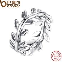 Bamoer 2017 новая коллекция аутентичные лавровый лист лавровый венок кольцо 100% изысканные стерлингового серебра 925 ювелирных изделий pa7156(China (Mainland))