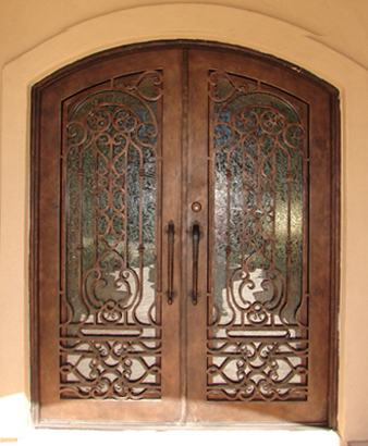 Finished wrought iron exterior doors with wood design for for Types of front door glass