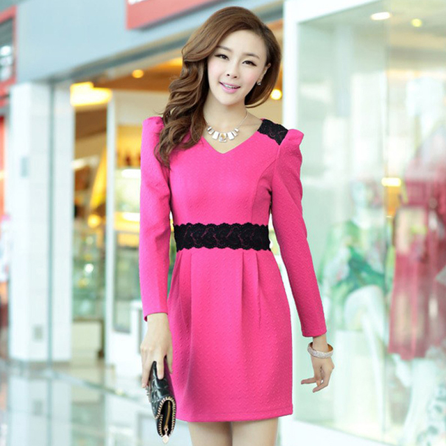 Free shipping 2013 new arrival autumn women's slim solid color sweet long-sleeve dress 0225851351