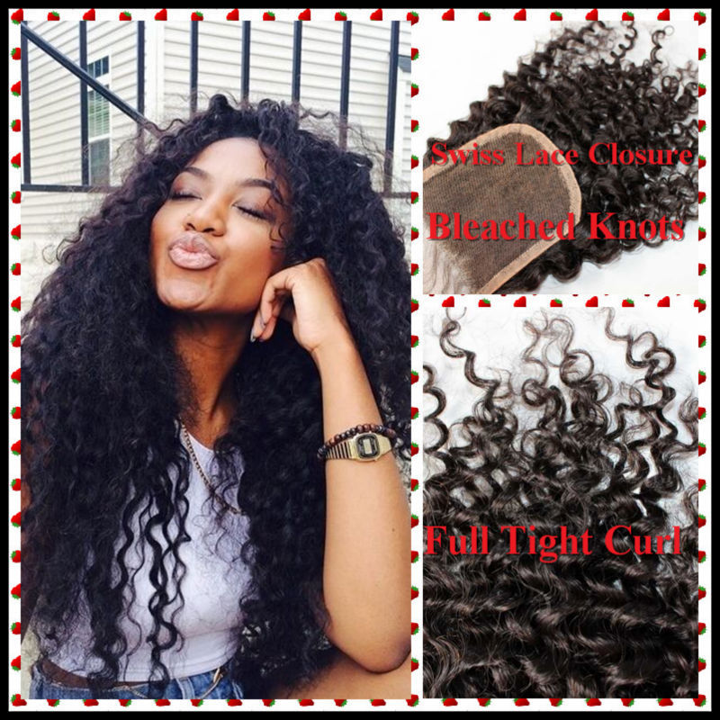 """Гаджет   100% Queen Hair Products Kinky Curly Closure Indian Hair Grade 5A Remy hair 4""""*4"""" Swiss lace Closure Color 1B With Baby Hair None Волосы и аксессуары"""