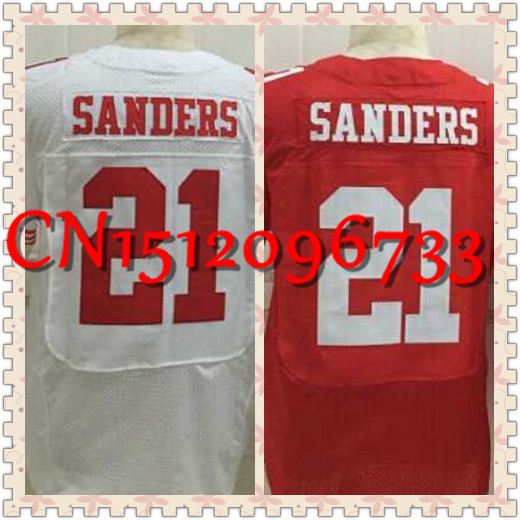 2015 New #21 Barry Sanders men's jersey,San Francisco Football elite jerseys RED white authentic Stitched cheap M L XL 2XL 3XL(China (Mainland))