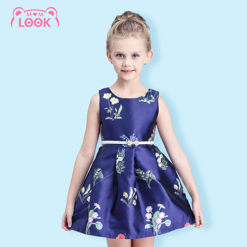 Baby Girl 100% Cotton Blue Princess Dresses Flower Tutu Dresses Cute Baby Girls Clothes Bow Waist Party Kids Clothing 110-150CM(China (Mainland))