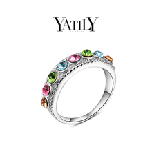 2015 YATILY Brand Design Luxury 18K Gold Plated Shinning Colorful Austrian Crystal Royal Ring 100654