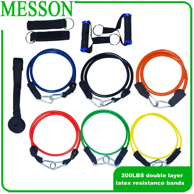 MESSON HEAVY DUTY 201LBS 12PCS/Set  Deluxe Natural Double Layer Latex Tube  Exercise Strench bands perfect for ABS,Yoga (1Set )