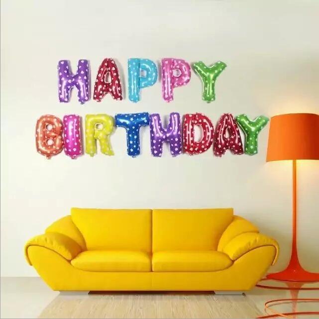 New 13pcs/Lot Pink / Blue Letter Happy Birthday BALLOON Aluminum Foil Balloon Baby Birthday Decoration Alphabet Helium Balloon(China (Mainland))