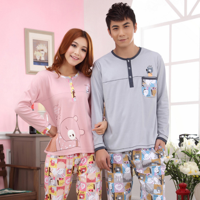 Free Shipping2013 factory wholesale home service men and women bear bunny suit pants sweet couple casual pajamas 28-29