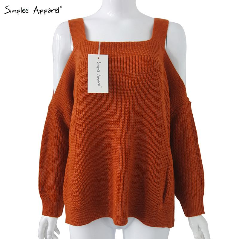 Simplee Apparel off the shoulder sexy oversized sweaters women Fashion tricot pull femme Autumn casual knitted pullover jumpers(China (Mainland))