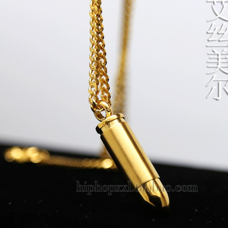 JHNBY Bullet Couple pendant High Quality Fashion Hiphop Gold-color Plated 60cm long chain statement necklace men Unisex jewelry()