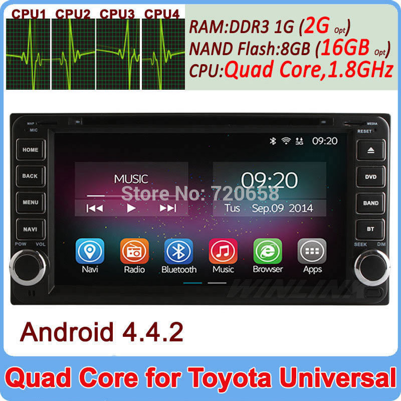 2 din quad core android 44 car dvd player for toyota
